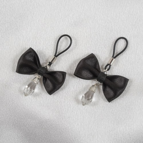 Black Satin Bow Crystal Pendant Silver Non-Piercing Nipple Rings