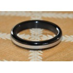 Black Stainless Steel Cock Ring with Silver Band