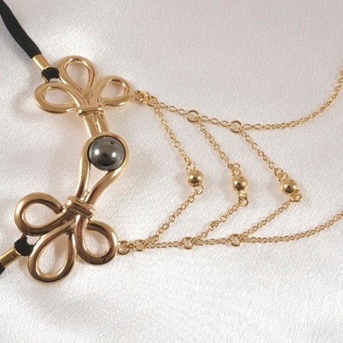 Brandebourg Knot Gold G-String with Hematite Stone