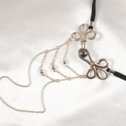 Brandebourg Knot Silver G-String with Hematite Stone