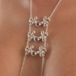 Brandebourgs Knot Hematite Pearl Nipple Necklace