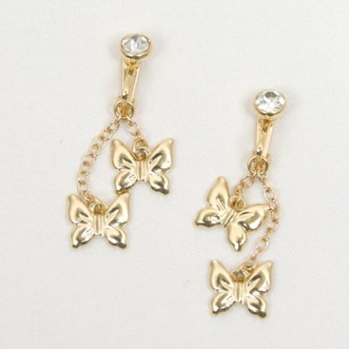 Butterflies & Crystal Non Piercing Labia Jewelry