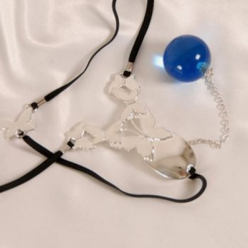 Butterfly Penetrating Crystal Ball G-String Jewelry
