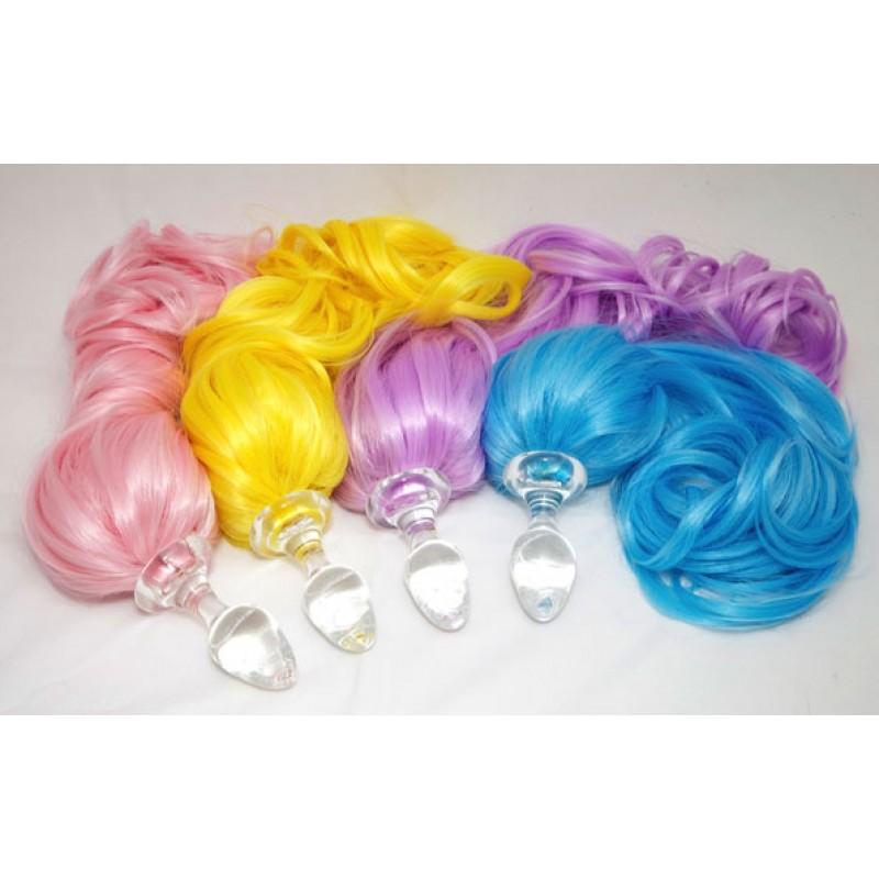 091b79fb5 Colorful Pony Tail Clear Glass Anal Plug