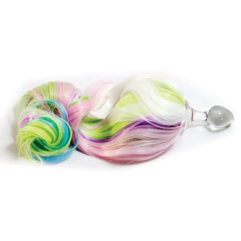 0208871da1b Colorful Pony Tail Clear Glass Anal Plug