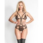 Crotchless Playsuit Body Teddy - Black Mesh, Straps