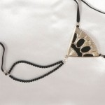 Fan Shaped Pearl G-String with Penetrating Crystal Orbs