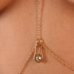 Gold Crystal Zipper Necklace Waist Chain