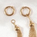 Gold Hoops Labia Jewelry Rings With Chain Tassels
