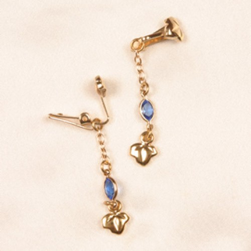 Gold Leaves & Crystal Labia Jewelry Clips