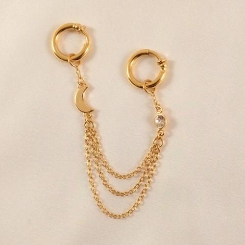 Gold Moon Crystal Jewel Labia Jewelry Rings