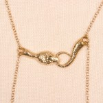 Gold Serpent Nipple Necklace with Nipple Pendants