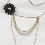 Gold Strings of Love Drape Chain Black Flower Nipple Necklace