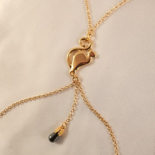 Midnight Cat Moon Gold Nipple Necklace