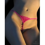 Open Beaded Magenta G-string