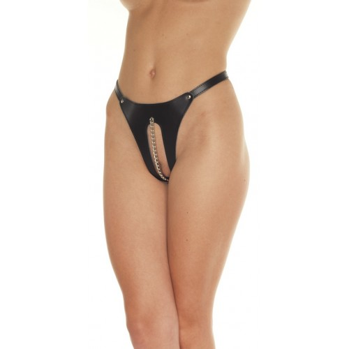 Open Front Leather Thong With Chain