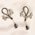 Ornate Flower Crest Sterling Silver Nipple Rings with Hematite Pendants