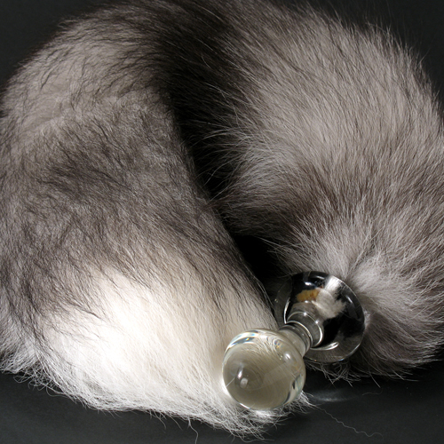 Real Fur Tail Crystal Anal Plug