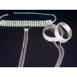 Rhinestone Choker Necklace, Silver Chains & Bracelet Cuffs