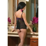 Scalloped Stretch Lace & Mesh Babydoll with G-String