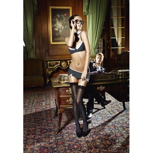 Secretary Lingerie Pinstripe Bra & Skirt Costume