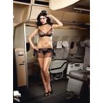 Sheer Black Stewardess Lingerie