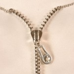 Silver Crystal Zipper Necklace Waist Chain