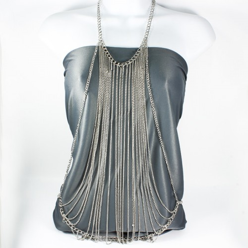 Silver Fashion Necklace Body Chain Jewelry