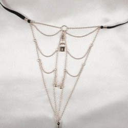 Sterling Silver Chains Crystal Gem Padlock Charm G-String