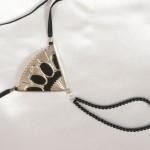Venetian Silver Fan and Tassel Double Black Pearl G-String