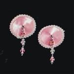 Bijoux de Nip Round Pink Satin Pasties w/Facet Beads