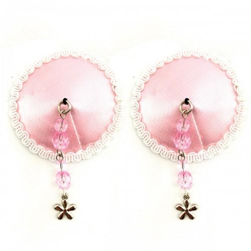 Bijoux de Nip Round Pink Satin Pasties w/Flower Charm