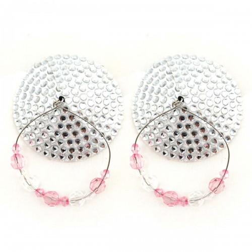 Bijoux de Nip Round Silver Crystal Pasties w/ Beaded Hoops