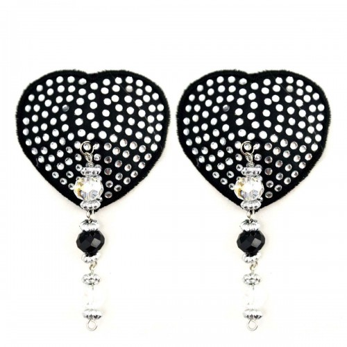 Bijoux de Nip Heart Black Crystal Pasties w/ Beads