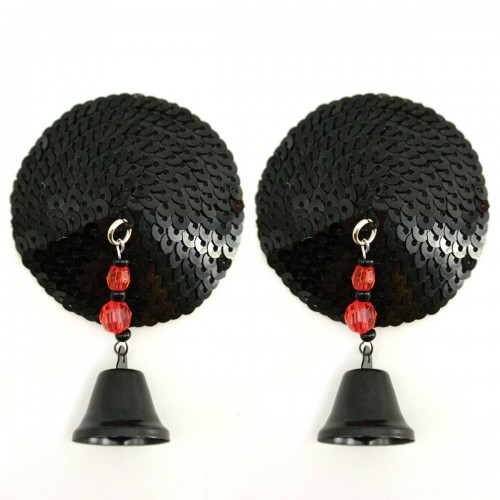 Bijoux de Nip Round Black Sequin Pasties w/ Bells