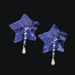 Bijoux de Nip Star Blue Sequin Pasties w/ Beads