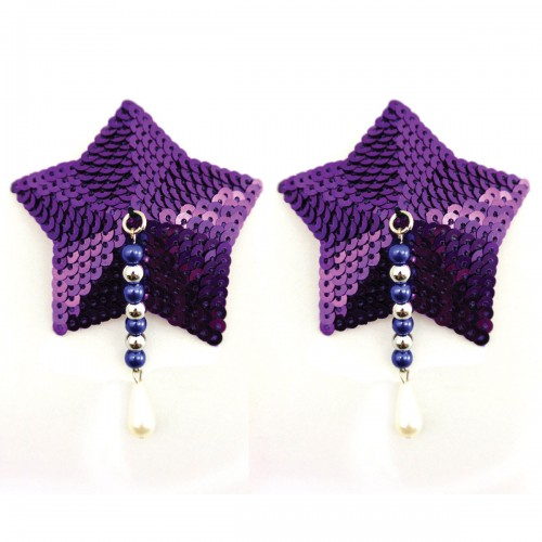 Bijoux de Nip Star Purple Sequin Pasties w/ Beads
