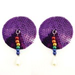 Bijoux de Nip Round Purple Sequin Pasties w/ Rainbow Beads