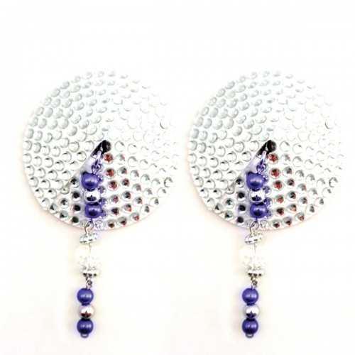 Bijoux de Nip Round Silver Crystal Pasties w/ Purple Beads