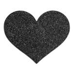 Flash Glitter Pasties - Heart Black