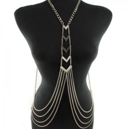 Silver Contemporary Body Chain Jewelry