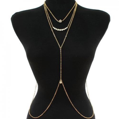 Gold Rhinestone Drop Necklace Waist Chain Jewelry