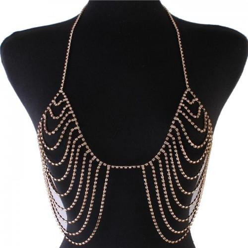 Gold Rhinestone Drop Bra Body Chain Jewelry