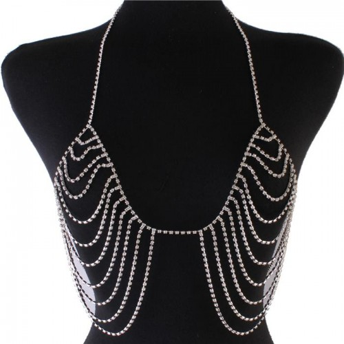 Silver Rhinestone Drop Bra Body Chain Jewelry