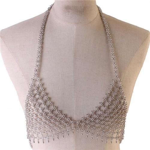 Silver Triangular Flower Shaped Bra Body Chain Jewelry