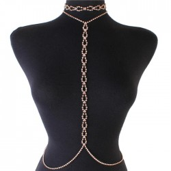Gold Rhinestone Tear Choker Necklace Waist Chain Jewelry