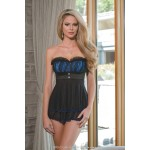 Black & Blue Babydoll and G-String