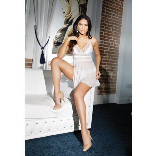 Stretch Lace & Mesh White Babydoll with Thong