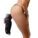 Bushy Grey Fox Tail Anal Plug