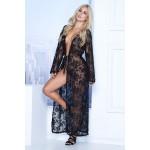 7116 Long Lace Robe Color Black